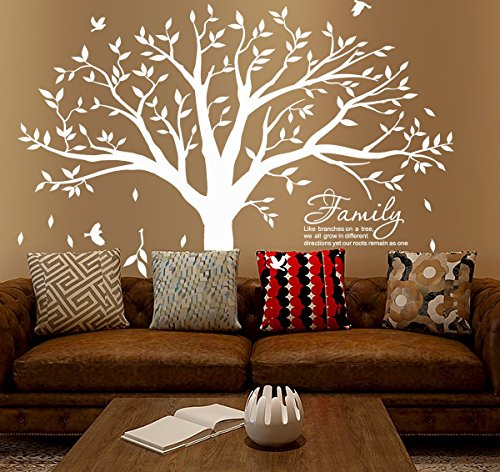 MAFENT Family Tree Wall Decal Quote- Family Like Branches On A Tree Lettering Tree Wall Sticker for Bedroom Decoration (White) by MAFENT (Image #5)
