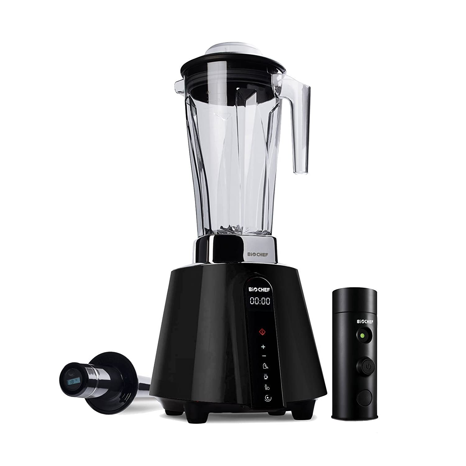 BioChef Living Food Vacuum Blender - 1680 Watt Motor, 2L BPA Free Jug - High Speed Blender with Temperature Tamper + Vacuum Blending Accessory with Vacuum Seal Bags (Black)