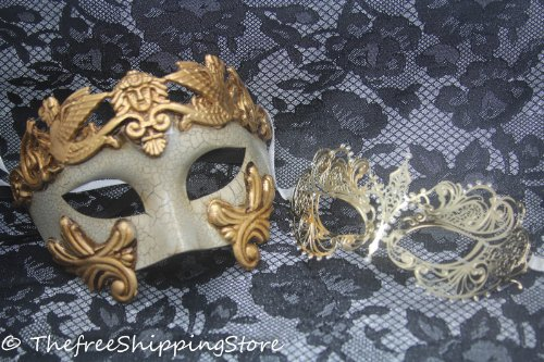 Roman Couples Costumes - Matching Couple Lover Gold Roman & Gold Extravagan Venetian Masquerade Mask