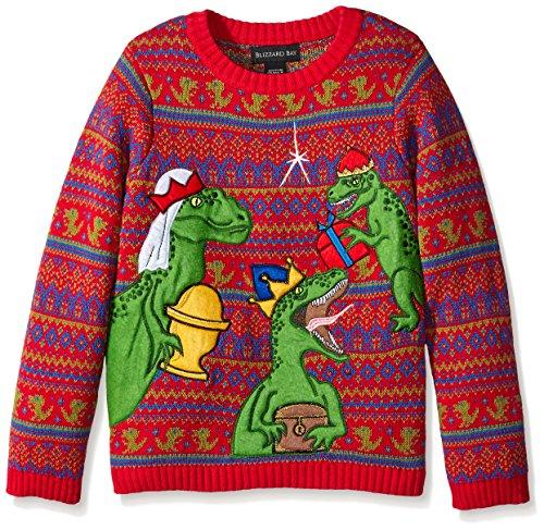 Blizzard Bay Big Boys' Three Wise Raptors Xmas, Red/Green/Blue, Medium (Kids Ugly Christmas Sweater)