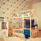 Toddler bed twin size, baby bed, children bed, montessori wooden house, nursery interior crib, toddler bedroom design, girl room, with fence