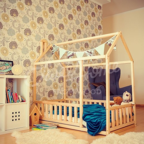 Toddler bed twin size, baby bed, children bed, montessori wooden house, nursery interior crib, toddler bedroom design, girl room, with fence by Sweet Home from Wood