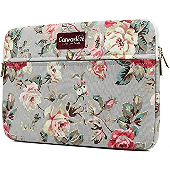 Canvaslove Rose Pattern 13 inch Canvas laptop sleeve with pocket for 13 inch  13.3 inch laptop 1667f87c32f1a
