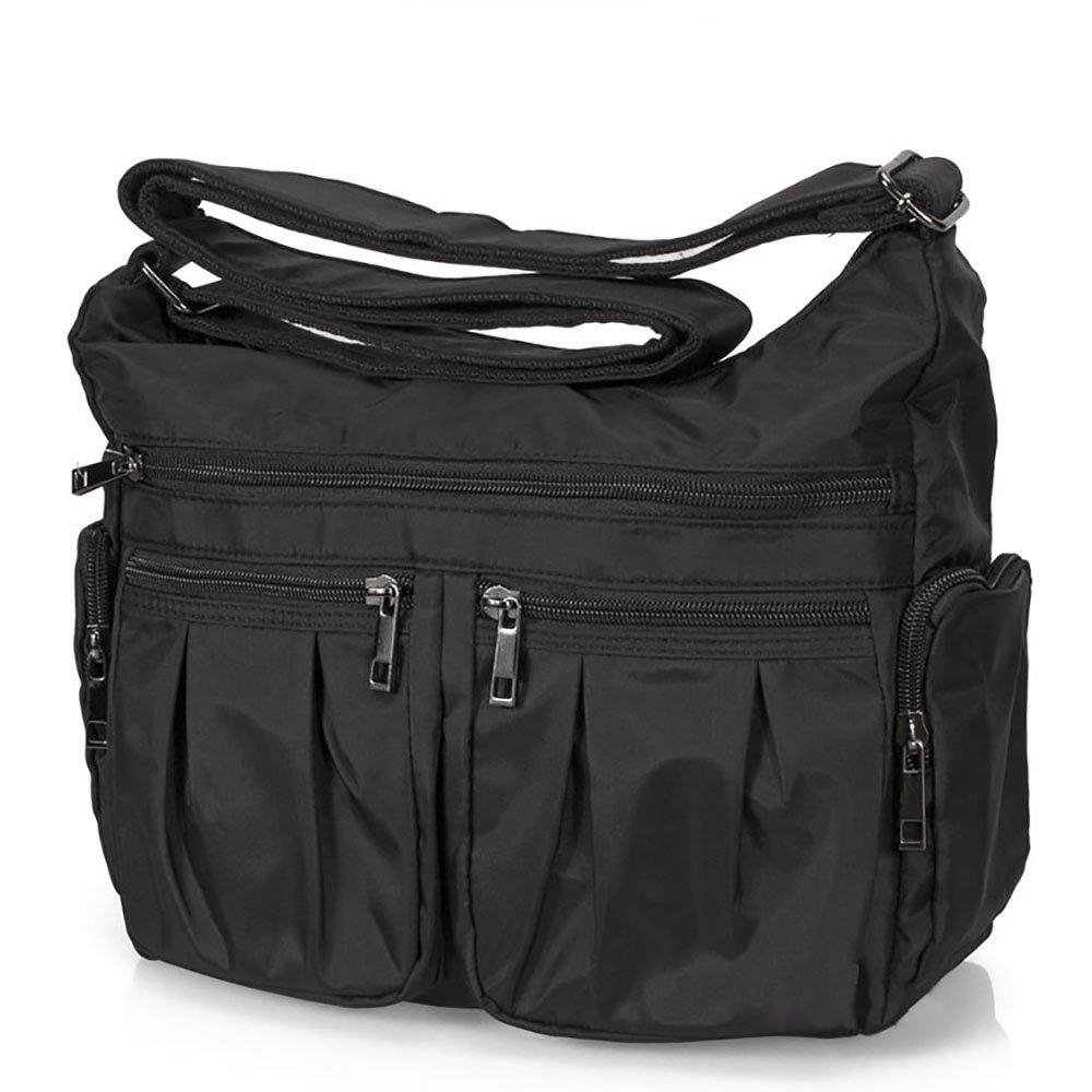 Volcanic Rock Shoulder Bag Corss-body Purse Waterproof Nylon Handbags with Zipper for Women(8981_Black)
