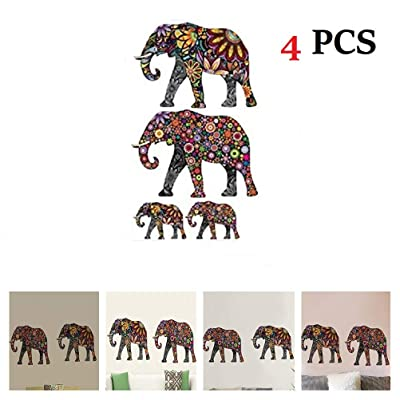 """Amaonm Creative Kids Room Wall Decals Removable Cute Cartoon Colorful Animals Sunflower Veins Elephant Wall Stickers Murals Wallpaper for Nursery Room Bedroom Living Room TV Background (14""""x24""""): Home & Kitchen"""