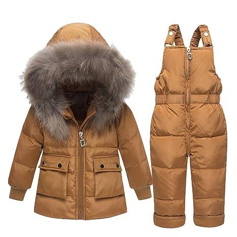 Bebé Unisex 2 Piezas Traje de Nieve cálido Abajo Chaqueta con Capucha de Piel + Pantalones Jumpsuit Niña Niño Ropa de Invierno Set/1-3 Años