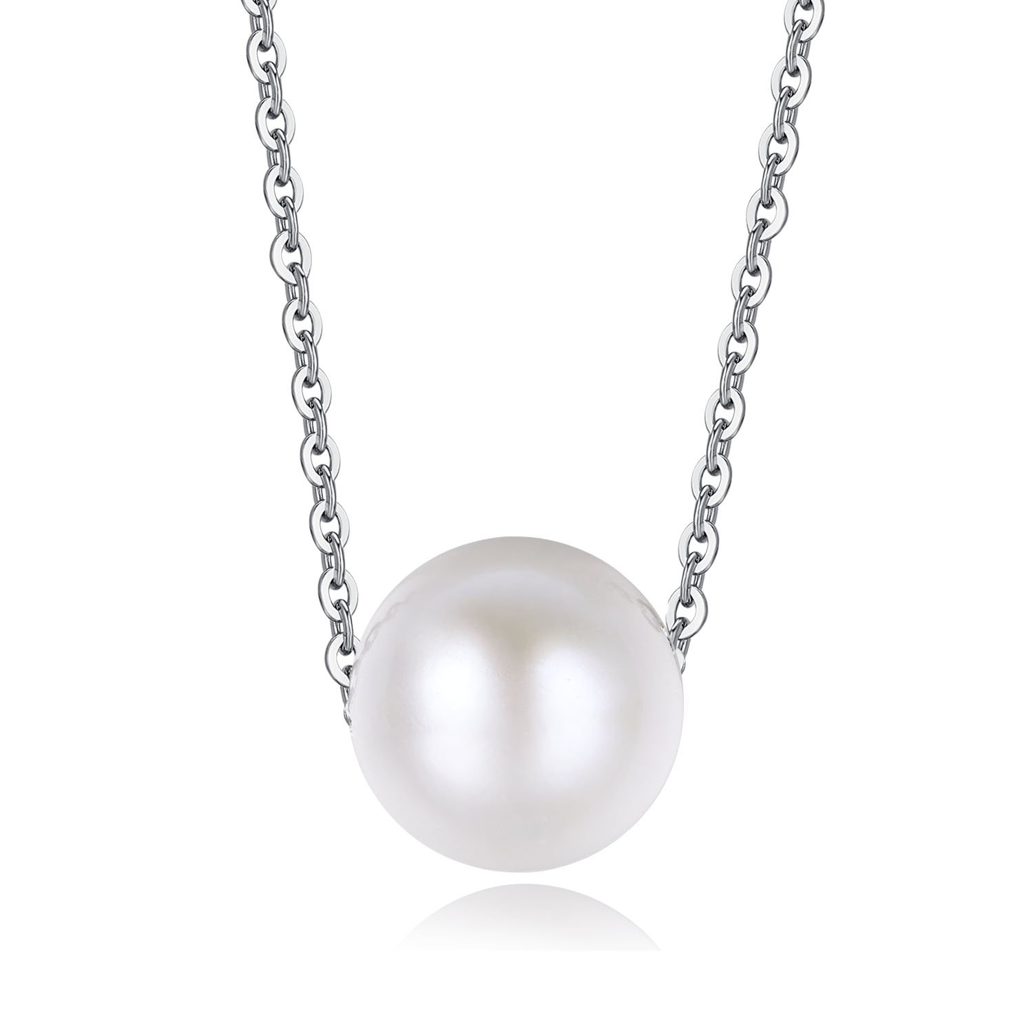 Precious Time Jewelry 9.5mm - 10.5mm White Freshwater Cultured Round Pearl 925 Sterling Silver Necklace with Certificate 16''+2''