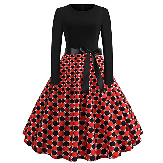 4a5b7a112b18 Hunzed Women【Polka Dot Swing Skirt】 Retro Long Sleeve Round Neck Slim  Evening Dress