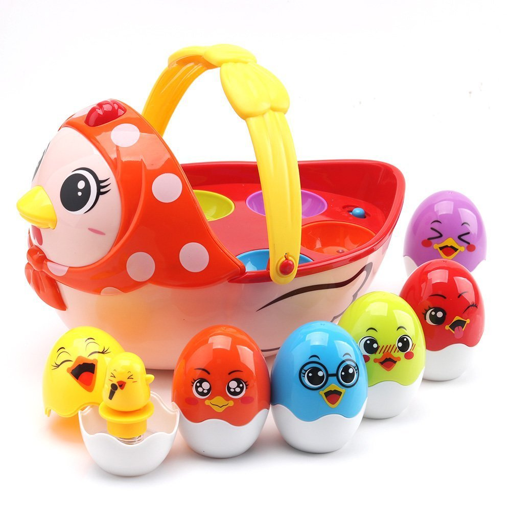 Baby Toys Electronic Learning Toys Kids Education Toys Easter Eggs and Hen Family Musical Toy Set for Boys and Girls Toddler Toys Birthday Gift Chicken