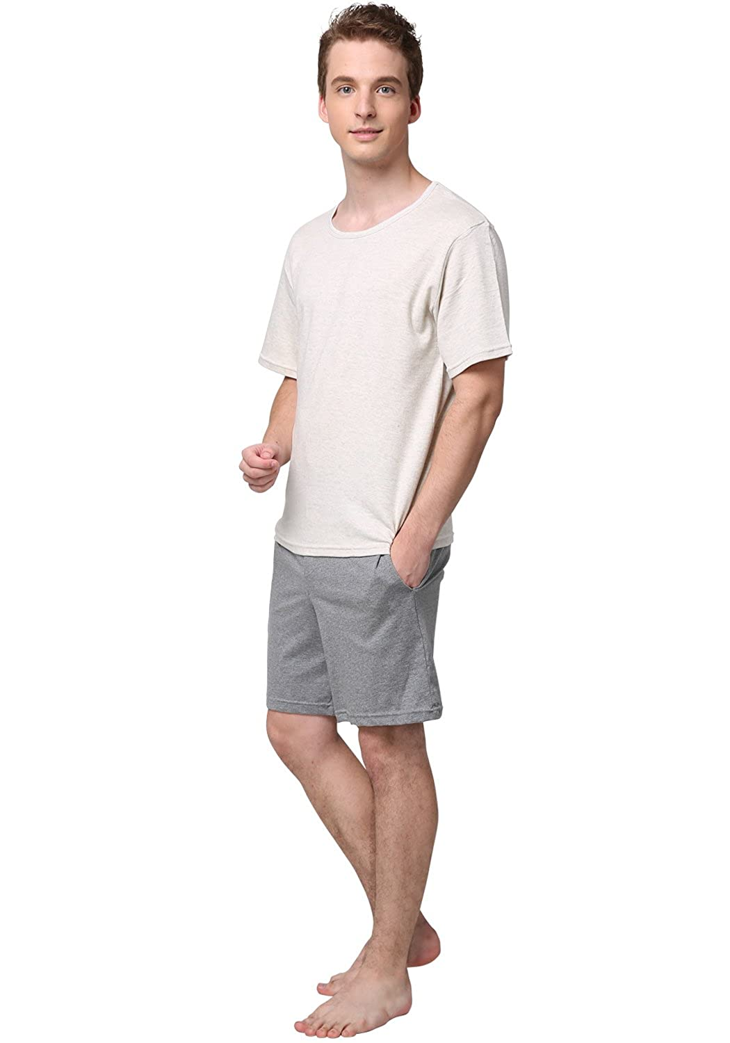 Godsen Mens Basic Cotton Pajama Short Sets Sleepwear Short Sleeve 8331601