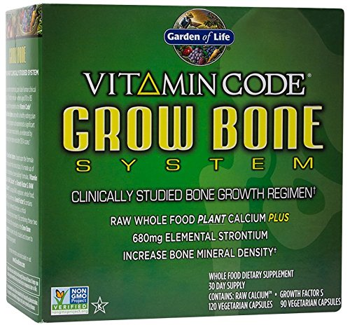 Garden of Life Raw Calcium Supplement - Vitamin Code Grow Bone System Whole Food Vitamin with Strontium, - Bones Stronger