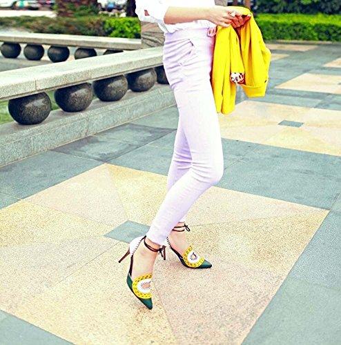 SHINIK Zapatos de mujer cuero sandalias de los ojos grandes correas de tobillo lado tacones vacíos fina con zapatos de Baotou personalidad hueca Amarillo