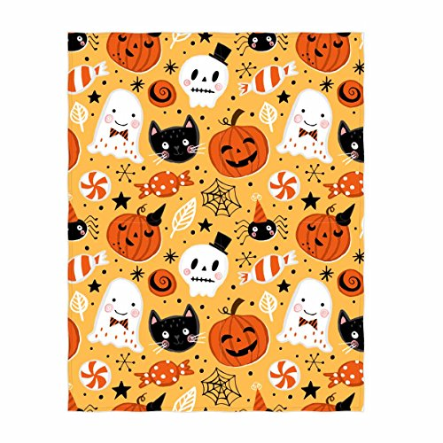 Halloween Fleece - QH 58 x 80 Inch Halloween Pumpkin Pattern Super Soft Throw Blanket for Bed Couch Sofa Lightweight Travelling Camping Throw Size for Kids Adults All Season