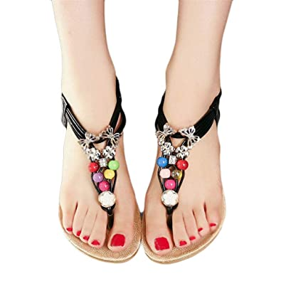 Women SandalsElaco Summer Bohemia Sweet Beaded Clip Toe Beach Sandals Shoes