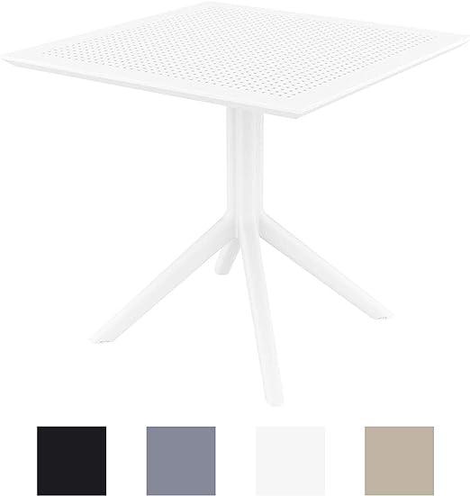CLP Mesa Auxiliar Sky 80x80 cm I Mesa de Jardín Resistente a la Intemperie & Rayos UV I Mesa de Plástico de Interior y/o Exterior I Color: Blanco: Amazon.es: Jardín