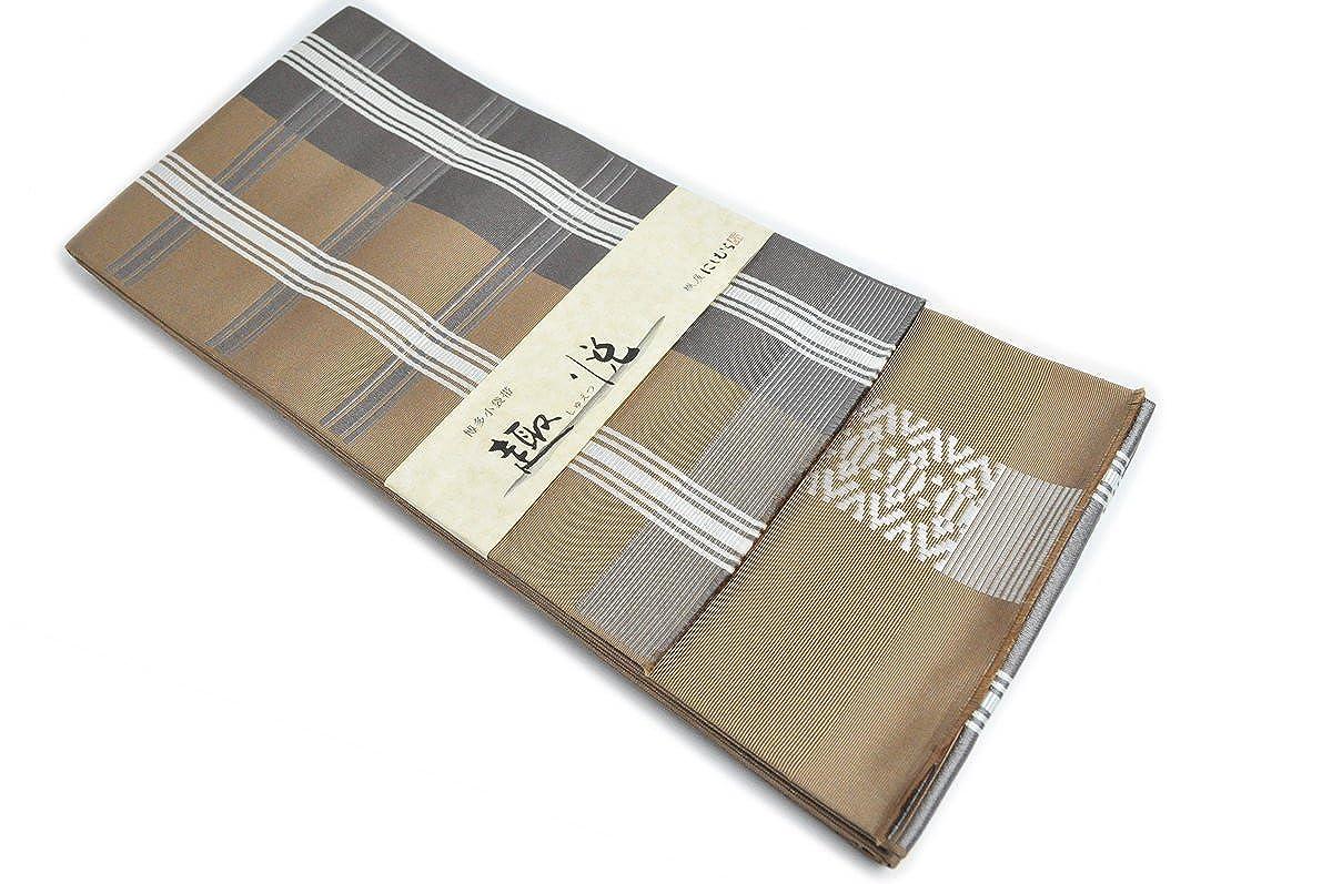本場筑前博多織 西村織物 博多帯薄茶色地にグレーの縞と白の線柄 小袋帯 献上柄 B075WRR6ZL