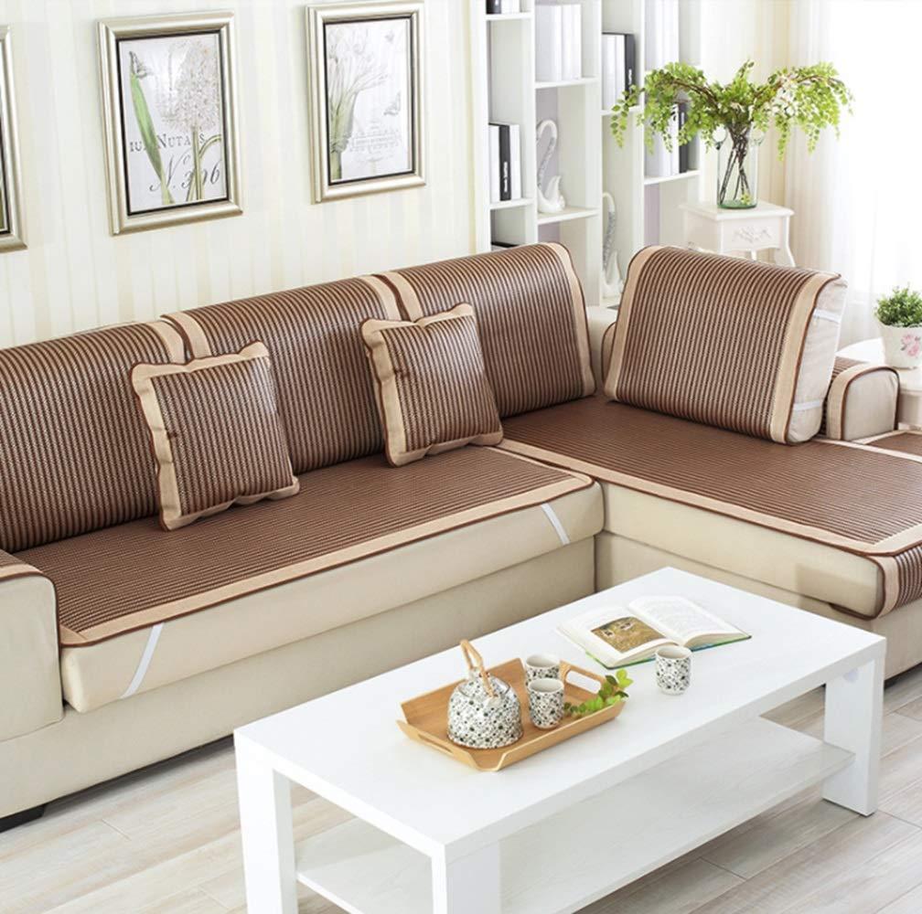JPAKIOS ソファクッションサマーアイスシルクマットソファタオルは、家庭に適しています (色 : ブラウン, サイズ : 80*160CM) 80*160CM ブラウン B07S6SVFJ6