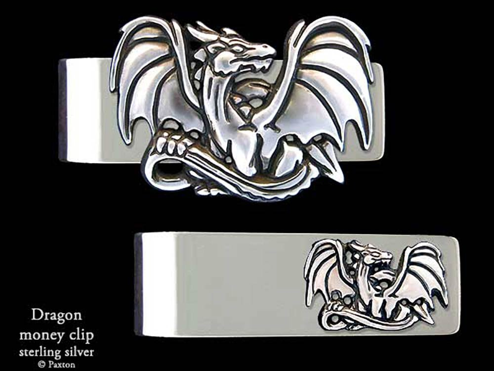 Dragon Money Clip in Solid Sterling Silver Hand Carved, Cast & Fabricated by Paxton