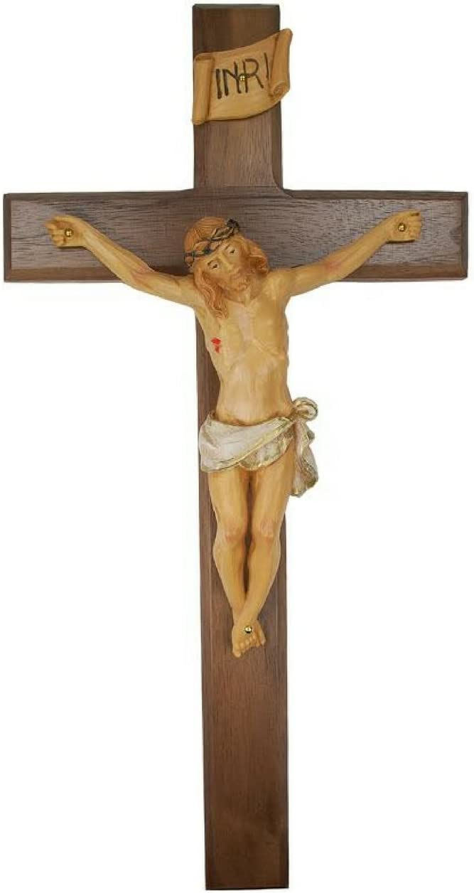 All Patron Saints Wall Crucifix Real Walnut Wood Cross with Hand Painted Italian Corpis and INRI Made in The U.S.A (13 Inches)