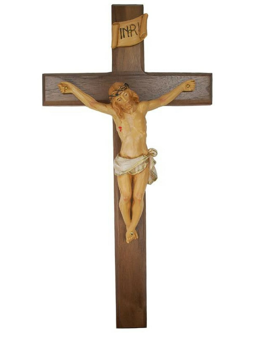 All Patron Saints Wall Crucifix Real Walnut Wood Cross with Hand Painted Italian Corpis and INRI Made in The U.S.A 13 Inches
