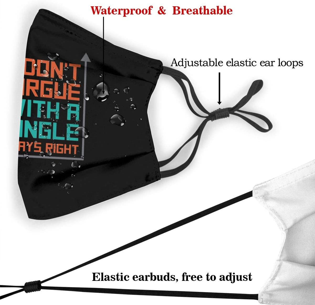 Includes 2pcs Filters DonT Argue With A 90 Degree Angle Reusable Washable Face Scarf Windproof Mouth Guard