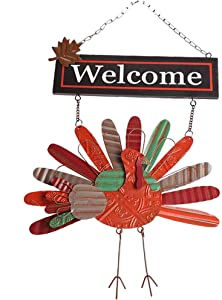 "MorTime Thanksgiving Hanging Turkey Welcome Sign, 21"" Wood Metal Harvest Turkey Door Signs for Home Office Thanksgiving Decorations"