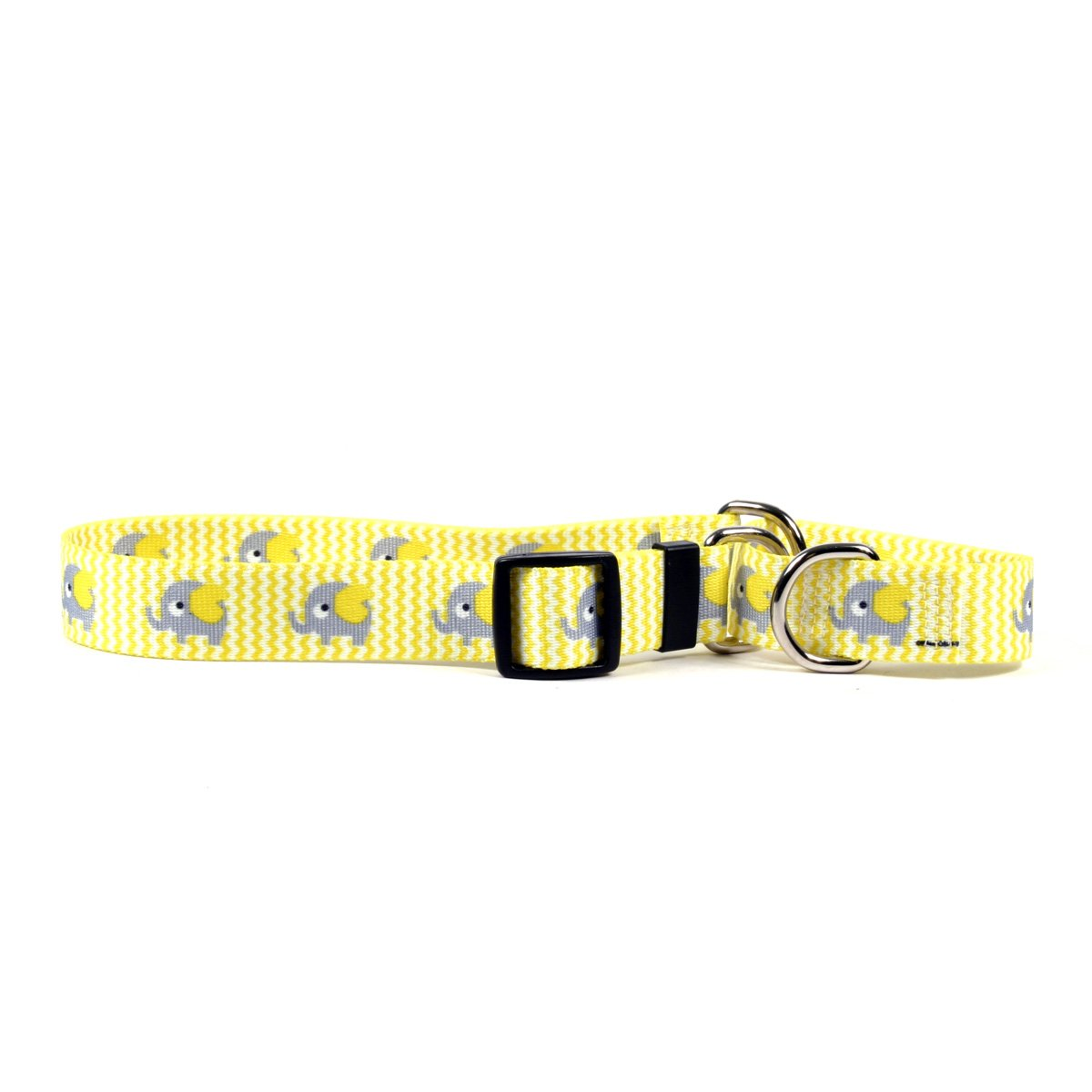 Yellow Dog Design Yellow Elephants Martingale Dog Collar-Size Large-1'' Wide and fits Neck 18 to 26'' by Yellow Dog Design