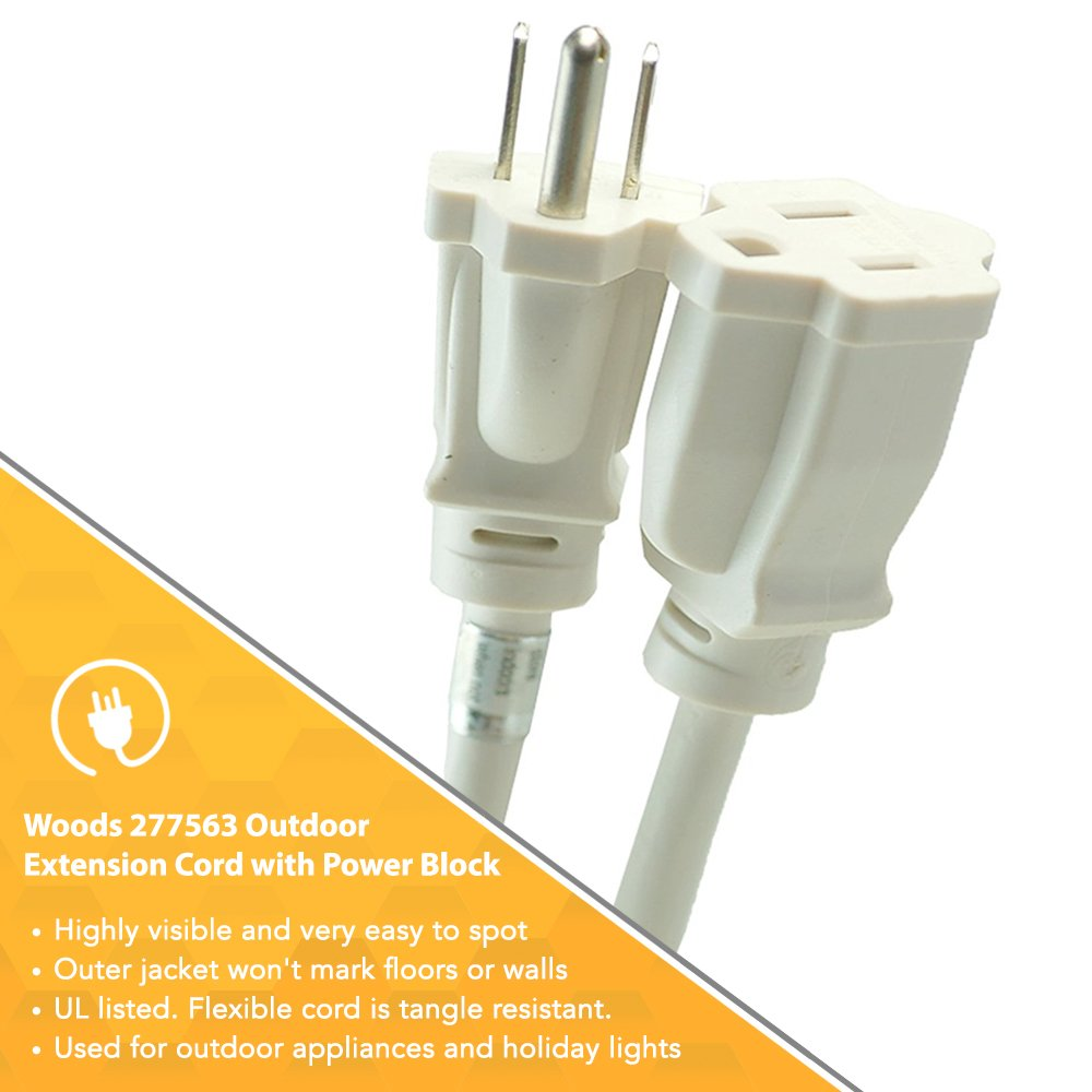 Woods 277563 Outdoor Extension Cord with Power Block, 8-Foot, White ...