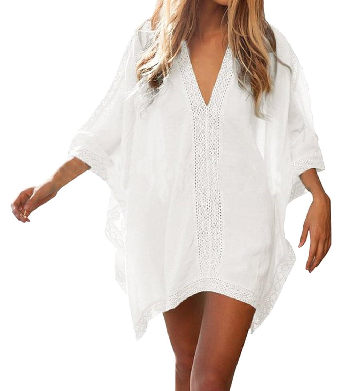 AIYUE Damen Sommerkleider Strandkleid große größen Sexy V-Ausschnitt Lose Beachwear Bikini Cover Up One-Size Minikleider Oberteile Bluse