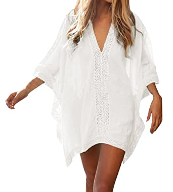 7bded5b721 Hikong Womens Sexy Summer V Neck Loose Plus Size Beach Dress Swimwear  Bikini Cover Up Tops: Amazon.co.uk: Clothing