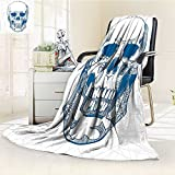 AmaPark Digital Printing Blanket Skull Human Skull with Science Elements Background Medical Theme Blue White Summer Quilt Comforter