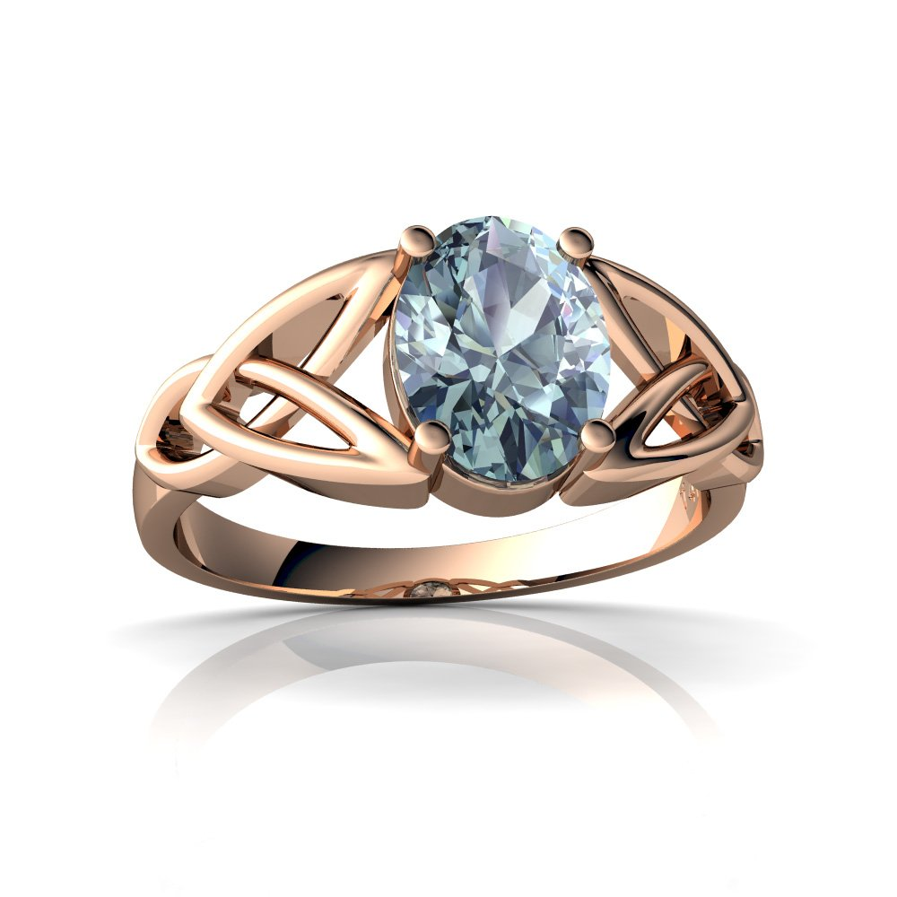 14kt Gold Aquamarine 8x6mm Oval Celtic Trinity Knot Ring