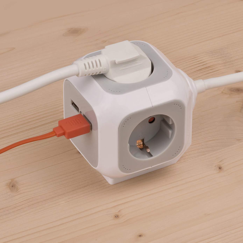 Ladr/ón con 4 enchufes 2 puertos USB, cable de 1,4 m y protecci/ón infantil color gris Brennenstuhl 1150100 Alea-Power Charger