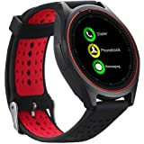 VELL- TECH Bluetooth Smart Watch Compatible with All 3G, 4G Phone with Camera and Sim Card Support (Red)