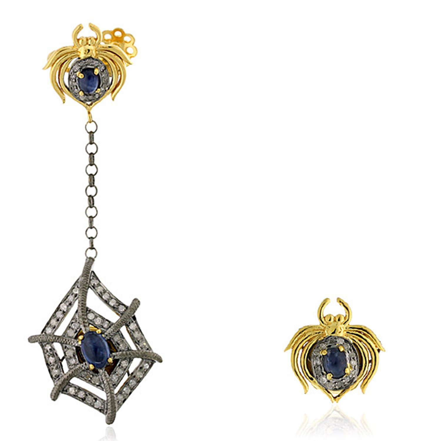 Blue Sapphire & Diamond Spider Style Ear Crawler Cuff Climber Earrings in 18K Yellow Gold & Sterling Silver