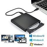 External USB2.0 DVD Drive, Blingco Protable External CD Drive, USB Slim Portable CD-RW DVD-R Combo Burner Writer Player for Laptop Notebook PC Desktop Computer, Black