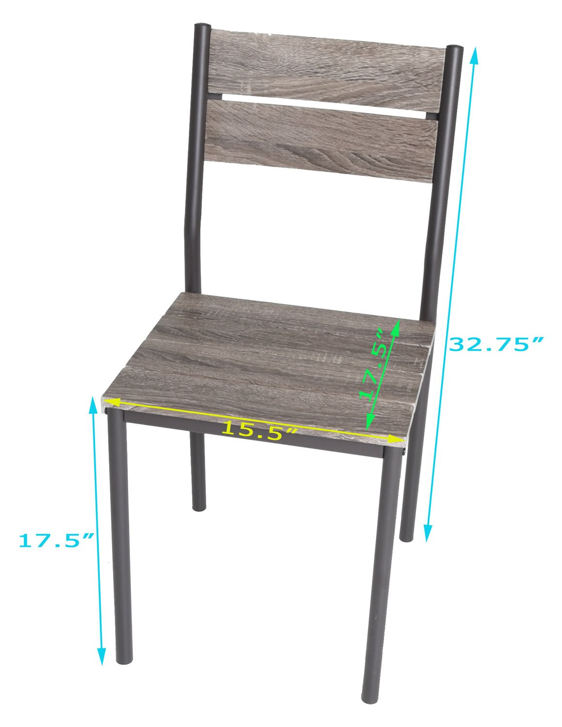 Zenvida 5 Piece Dining Set Rustic Grey Wooden Kitchen Table and 4 Chairs by Zenvida (Image #8)