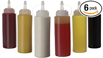 5 Clear Plastic Squeeze Sauce Ketchup Mustard Bottles Lids Oil Dressing Barbecue