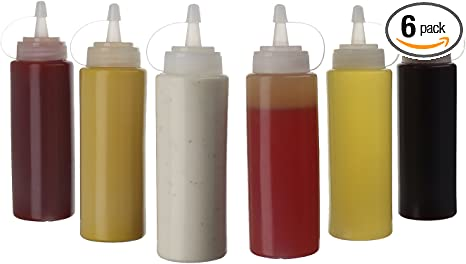 SUJUDE Condiment Squeeze Bottle for Sauces Plastic Kitchen Squeeze Bottles Squirt Bottles Salad Dressing Simple Syrup Container for Cooking Oil BBQ Griddle Pancake Batter Wide Mouth 4, 14 OZ