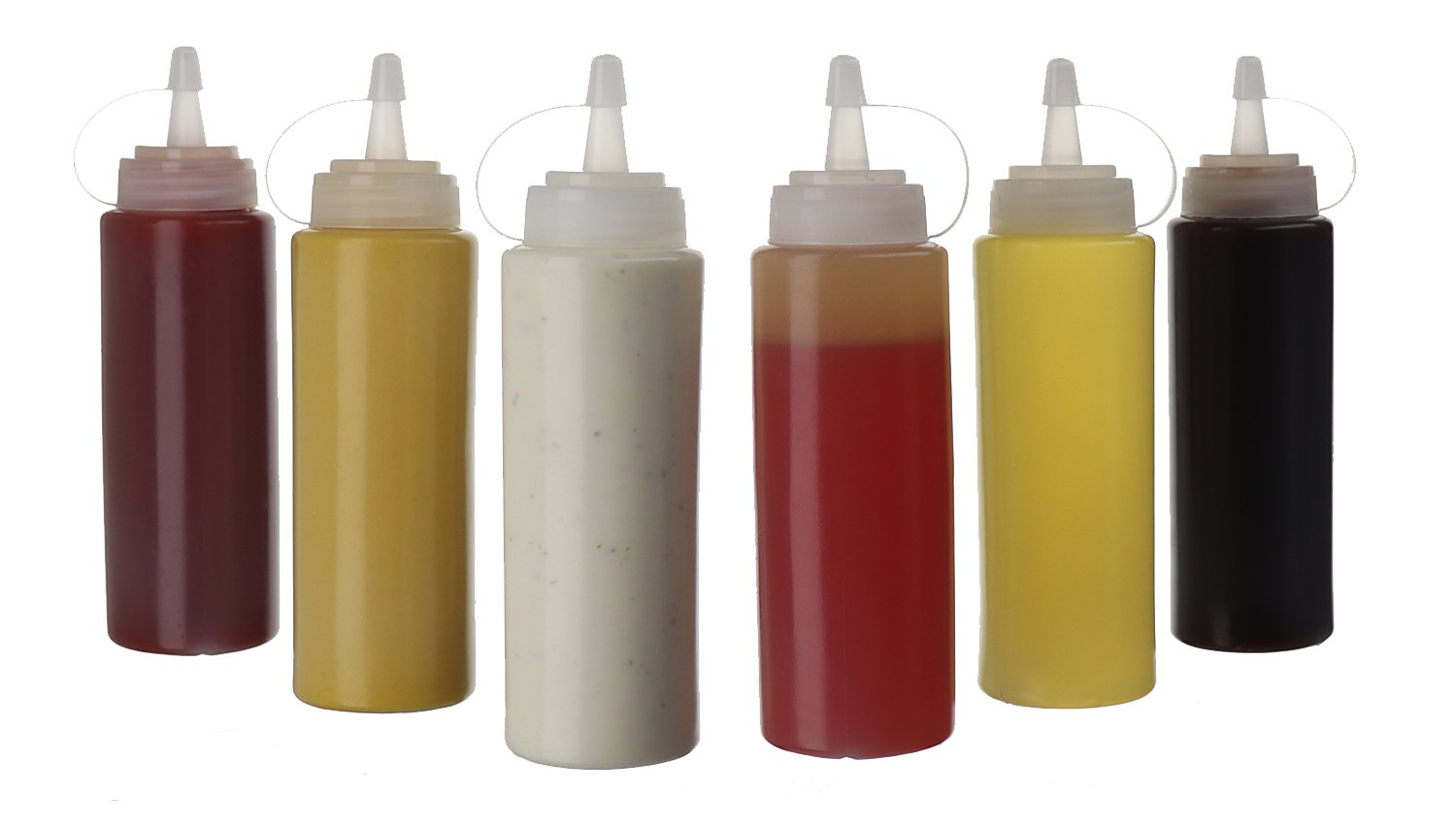 (6pk) 8 oz Plastic Squeeze Squirt Condiment Bottles with Twist On Cap Lids_ top dispensers for ketchup mustard mayo hot sauces olive oil_ bulk clear bpa free bbq set by Oaklyn
