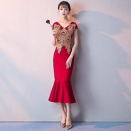 Amazon Com Yt Er Elegant Gold Lace Embroidered Long Dress Party