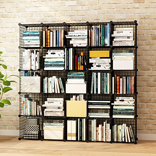 KOUSI Wire Grids Storage Cubes Bookcase Organizer Shelf Cabinet DIY Modular Shelving Units, 25 Cubes Black
