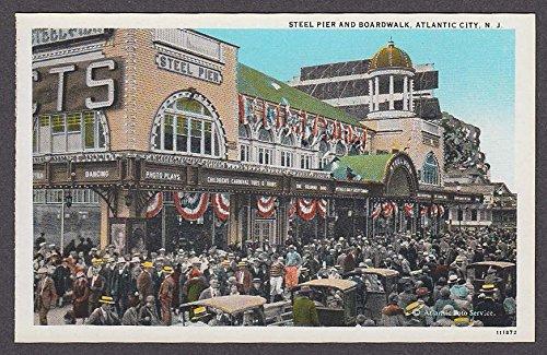 Steel Pier and Boardwalk Atlantic City NJ postcard 1920s (Atlantic City Nj Postcard)