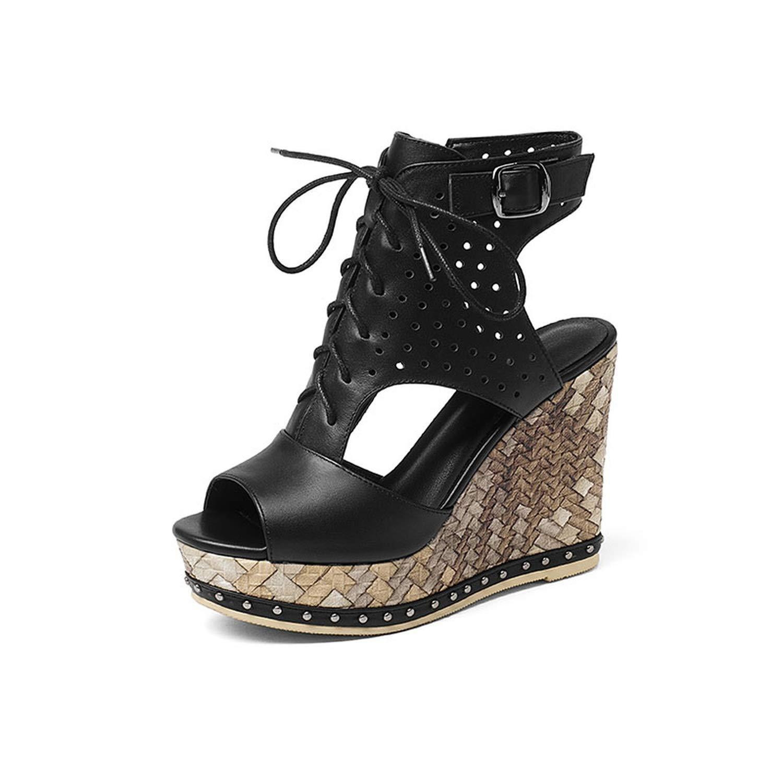 Black Women Platform Full Grain Leather Sandals Summer Ladies Wedges shoes Slingback Side Zip Peep Toe Lace Buckle