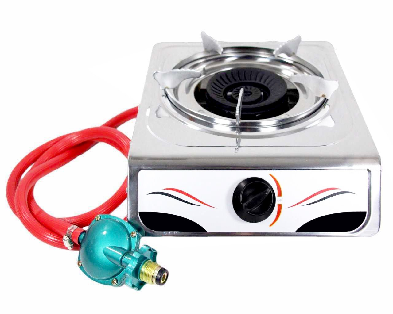 Hunslow Portable Auto Ignition 15,000 BTU Single Burner Propane Gas Stove Stainless Steel Body - Perfect Single Gas Burner for Your Kitchen & Outdoor Camping