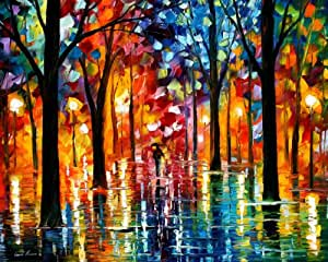 Rain Of Fire - Pallete Knife Original Recreation Oil Painting On Canavs By Leonid Afremov