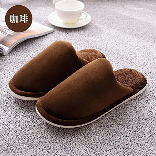 LaxBaFemmes Hommes chauds dhiver Chaussons peluche antiglisse intérieur Cotton-Padded Chaussures Slipper 41-42 Café