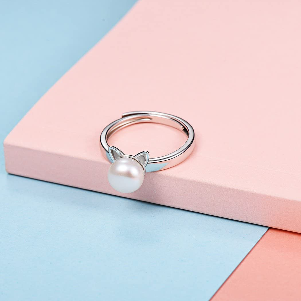 SILVERCUTE Sterling Silver Open Ring Finger Jewelry Vintage Style 3D Animal Crescent Moon Cat//Hollow Kitty//Bulldog//Pearl Cat Ear Statement Ring,Adjustable Size 6 to 12