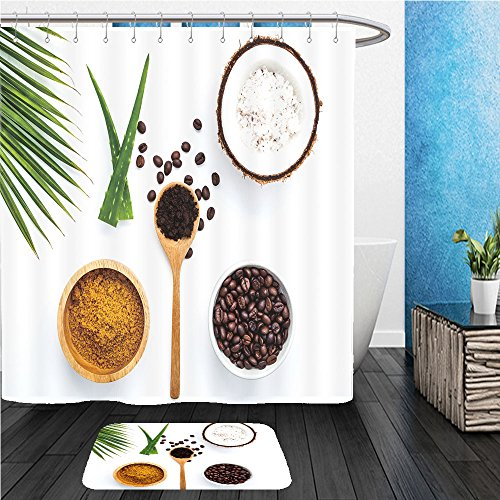 Beshowereb Bath Suit: ShowerCurtian & Doormat body scrub of ground coffee sugar and coconut on white background homemade cosmetic for peeling (Daisies Print Scrub)