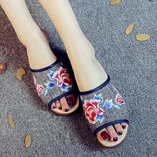 DESY Gestickte Schuhe, Sehnensohle, ethnischer Stil, weiblicher Flip Flop, Mode, bequeme, lässige Sandalen , black , 38